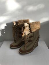 CHLOE beige/khaki fabric and brown leather boots, size UK7/EU40