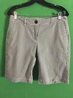 7515) ANN TAYLOR LOFT 6P black white stripe seersucker cotton shorts Original 6P