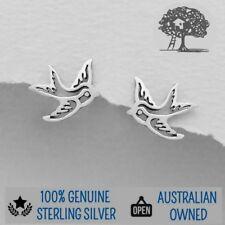 Genuine 925 Sterling Silver Swallow Bird Stud Earrings, Cute Fashion Earrings