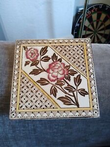 Antique victorian Arts And Crafts Rose Tile Circa1890's