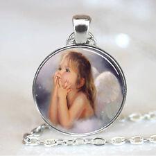 Vintage baby Cabochon Tibetan silver Glass Chain Pendant Necklace #F78
