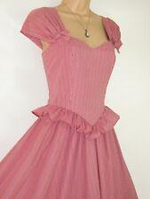 LAURA ASHLEY VINTAGE SCARLET STRIPE PEPLUM WAIST FIT & FLARE SUMMER DRESS,10/12