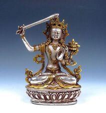 Vintage Tibetan Silver Plated Gold Gilt LARGE Manjushri Buddha Holding Big Sword