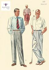 Vintage 1950s Sewing Pattern Mens Slacks Pants Trousers Shorts Pleats Waist 34""