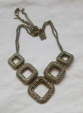Brass Tone Modernist Squares Necklace by Avon bib style