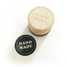 Hand Made Round Wooden Printing Stamp - Craft Tags Card making Handmade Print