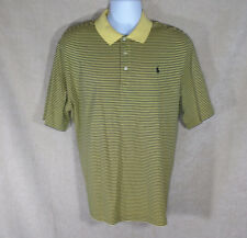 Ralph Lauren Polo Golf Shirt Pima Cotton Black Yellow Striped Short Sleeves XL