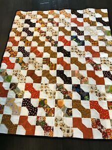 "Homemade Farmhouse Bowtie Orange, Black and White Quilt - Handmade - 57"" x 46"""