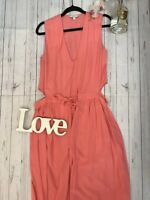 & Other Stories Size 10 36 salmon pink cut out summer holiday dress VGC midi