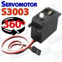 Servo S3003 servomotor 360 motor paso a paso tipo Futaba giro continuo completo