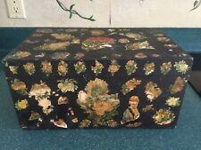 VINTAGE  ANTIQUE  decorative WOOD BOX 19th century circa 1850