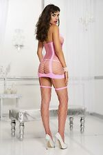 ROSA REGGICALZE STILE Cut Out sottoveste & DIAMANTE rete calze donna