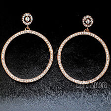 9ct Rose Gold Filled Large Dangle Drop Hoop Earrings with Clear SWA Crystals 156