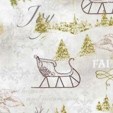 WOODLAND CHRISTMAS SLEIGHS VILLAGE JOY FAITH FABRIC GOLD METALLIC