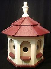 Medium Poly Amish Gazebo Birdhouse Post Mount Handcrafted Ivory & Red Roof