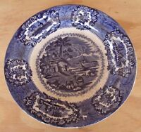 """Antique 8.5"""" Plate Marked ORIENTAL Blue Brown ? Transferware Camel Middle East"""