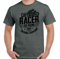 Biker T-Shirt Cafe Racer Old Racing Mens Motorcycle Motorbike Bike Enthusiast