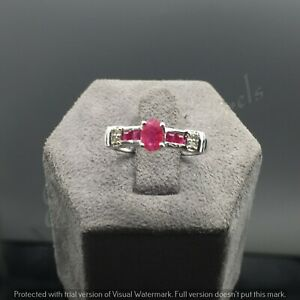 925 Sterling Silver Natural Ruby Emerald Gemstone With Diamond Wedding Ring