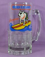 Vtg 1987 SURFING DOG Spuds Mackenzie Bud Light Oversized Beer Glass Mug