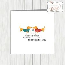 Personalised Christmas Card Dachshund Dogs Xmas Gifts Dad Mum Gran Brother Uncle