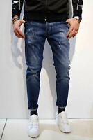 OVER D Jeans Casual Sportivi Pantaloni Uomo Denim SLIM Blu Slavato Con Strappi