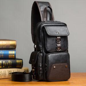 New Mens PU Leather Bag Cross Body Messenger Bags Satchel Shoulder Chest Outdoor