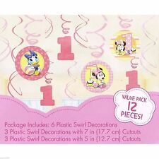 Minnie Mouse 1st Birthday Supplies Foil Swirl Hanging Decoration Pack of 12