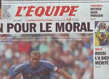 journal  l'equipe 07/06/2004  FOOTBALL  FRANCE UKRAINE TENNIS GAUDIO MOTO ROSSI