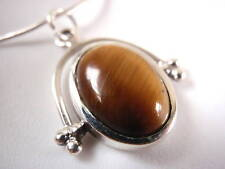 Tiger Eye Ellipse 925 Sterling Silver Necklace New