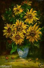 """24""""x36"""" Hand Painted Oil on Stretched Canvas-Sunflower Bouquet"""
