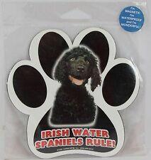 """Irish Water Spaniels Rule! 5"""" Waterproof Dog Paw Print Magnet"""