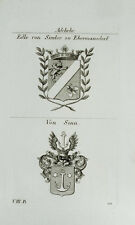 1825 Wappen Adelige von Simler zu Ebermannsdorf Edle Sinn Kupferstich Tyroff