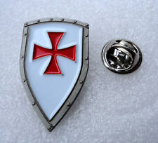 ZP413a Knights Templar Shield Crusader St George Cross Pin Badge Medieval