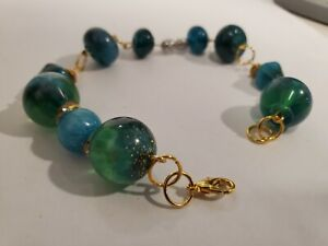 Handmade Beaded Bracelet with Handcrafted Resin Beads by Artist Jared D. 6/21 #1