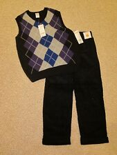 NWT Gymboree Black Argyle Vest 10-12/Black Cuffed Corduroy Pants 8