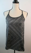 Fabletics Gray Geometric Workout Top w/Built in Bra Sz Small See Measurements