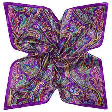 "Women's Fashion Hijab Purple Printed Silk-Satin Square Scarf Shawl Wrap 35""x35"""