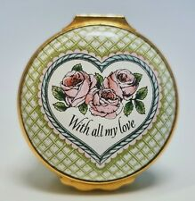 "Halcyon Days English Enamels ""With All My Love"" Valentine's Day 1984 Trinket Box"
