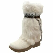 "BEARPAW KOALA FUR LEATHER WOMEN SHOES 12"" WHITE HIGH BOOTS 497W SIZE 5 NEW"