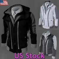 US Men Hooded Coat Sport Jacket Fleece Winter Warm Zipper Top Outwear Sweatshirt