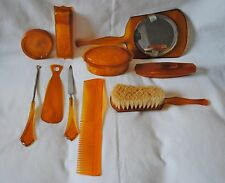 Vintage Art Deco Orange Celluloid 9 Piece Dresser Set