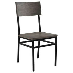 New Henry Steel Chair with Shaker Gray Wood Seat and Back