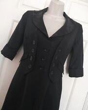 Karen Millen England Black Tuxedo Dress UK 8 Steampunk Victorian Style wool mix