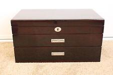 Luxury 3 Layers High Gloss Wooden Jewellery Box - Mahogany - Minor Second