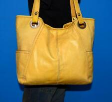 FOSSIL HATHAWAY Large Yellow Leather Tote Carryall Purse Shoulder Shopper Bag