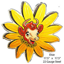 Elsie The Cow Reproduction Laser Cut Out Metal Sign 17.5x17.5