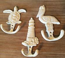 3 Shabby Nautical Lighthouse Marine Life Pelican Sea Turle Wall Art Statue Hooks