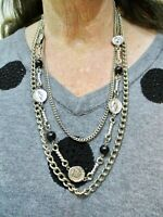 Vintage 1960's Silver Tone Triple Strand w/Black Bead & Faux Coin Necklace