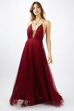 Topshop Red Berry Premium Tulle Lace Up Ltd Ed Robe Maxi Uk10 Rrp £ 125
