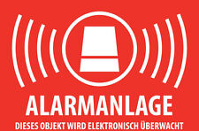 5-50 Stk. Alarmgesichert, Alarmanlage, Videoüberwachung, Überwacht Aufkleber 7x5